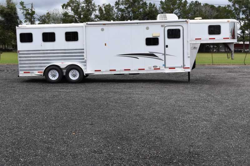 #55126 - Used 2012 Exiss 7310LQ 3 Horse Trailer  with 11' Short Wall