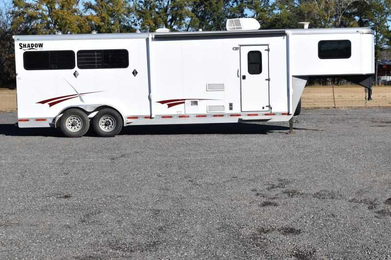 #73961 - Used 2012 Shadow 7308GLQ 3 Horse Trailer with 8' Short Wall