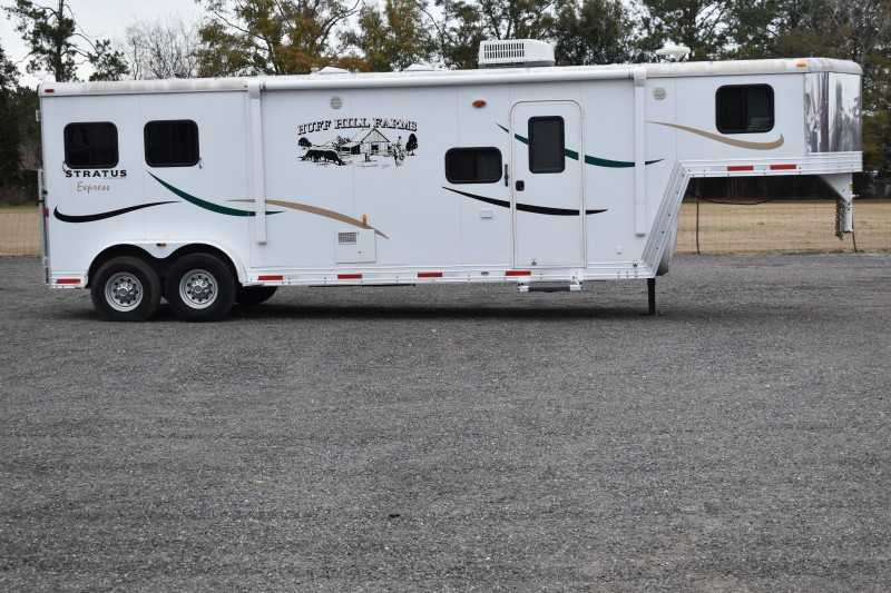 #01303 - Used 2011 Bison 7210 2 Horse Trailer with 10' Short Wall