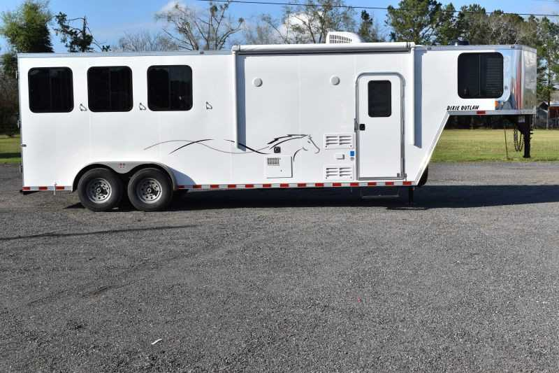 #00460 - New 2019 Harmar Dixie Star Outlaw 7308LQ 3 Horse Trailer with 8' Short Wall