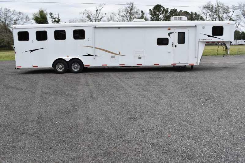 #01393 - Used 2012 Bison 8414LQBK 4 Horse Trailer  with 14' Short Wall