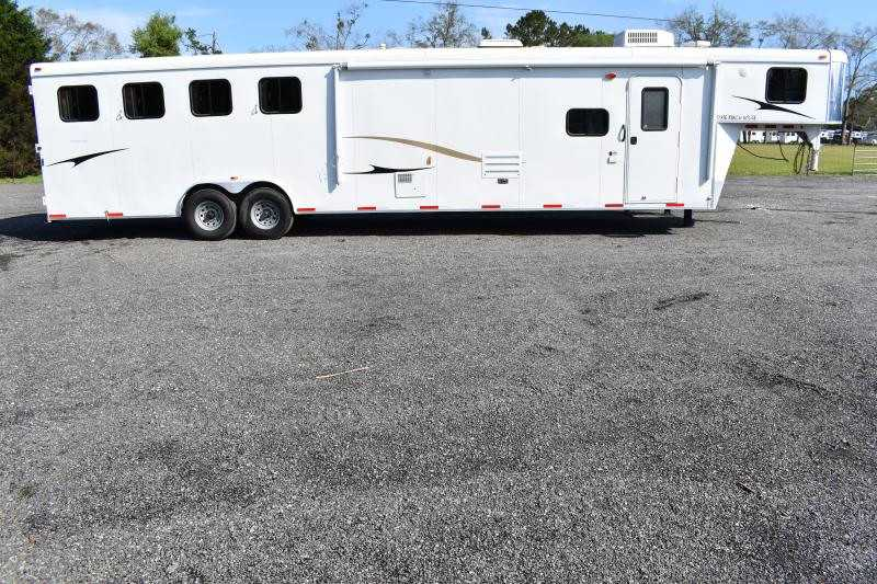 #02674 - Used 2013 Bison 8414 4 Horse Trailer  with 15' Short Wall