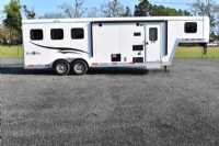 Used 2015 Bison 7309TB 3 Horse Trailer  with 9' Short Wall