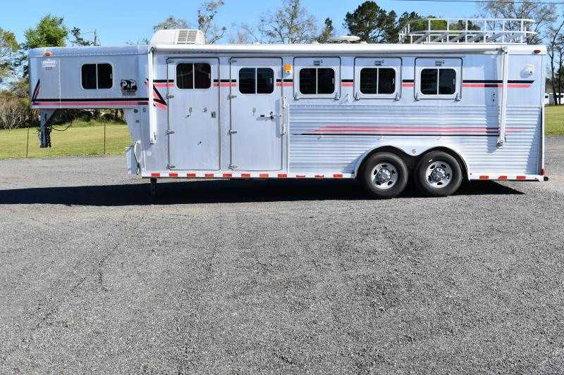 #00714 - Used 1996 Sooner 7406LQ 4 Horse Trailer with 5' Short Wall