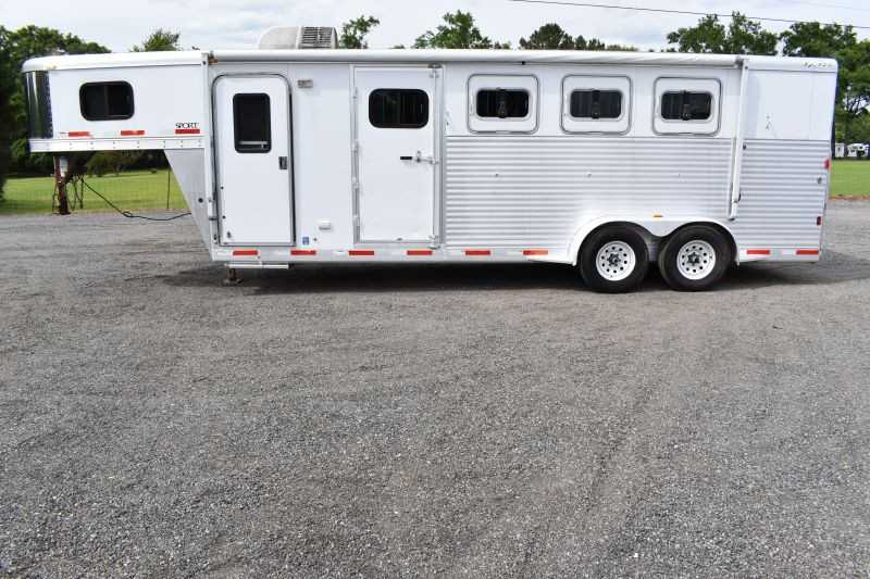 #39016 - Used 2007 Exiss 7405LQ 4 Horse Trailer with 5' Short Wall