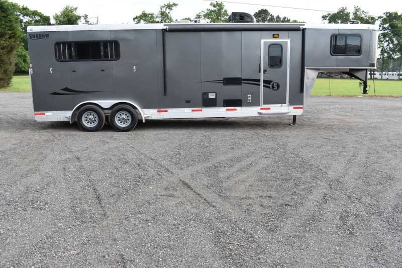 #73654 - Used 2018 Shadow SH-3QL 3 Horse Trailer  with 9' Short Wall