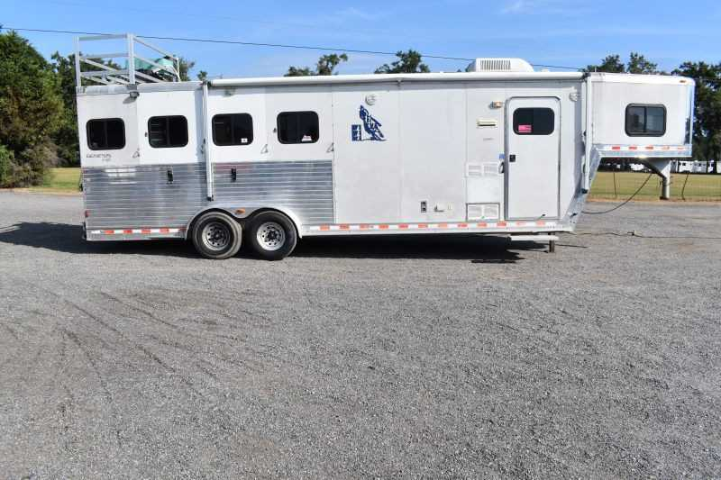 #43281 - Used 2003 Kiefer Built 7408LQ 4 Horse Trailer  with 8' Short Wall