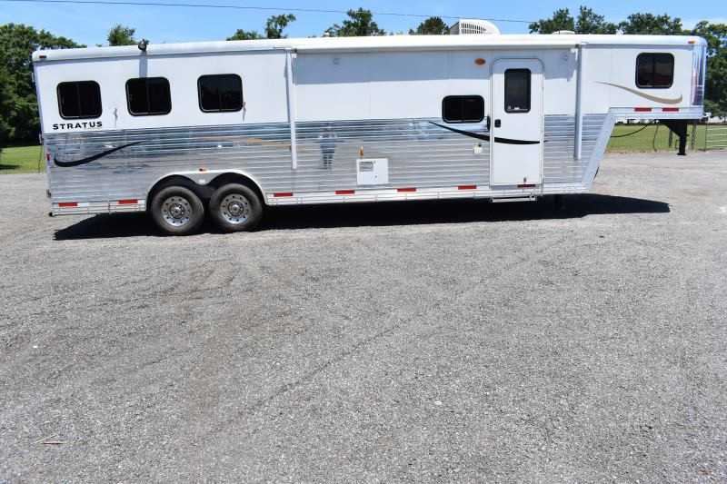 #03890 - Used 2014 Bison Laredo 3 Horse Trailer  with 12' Short Wall