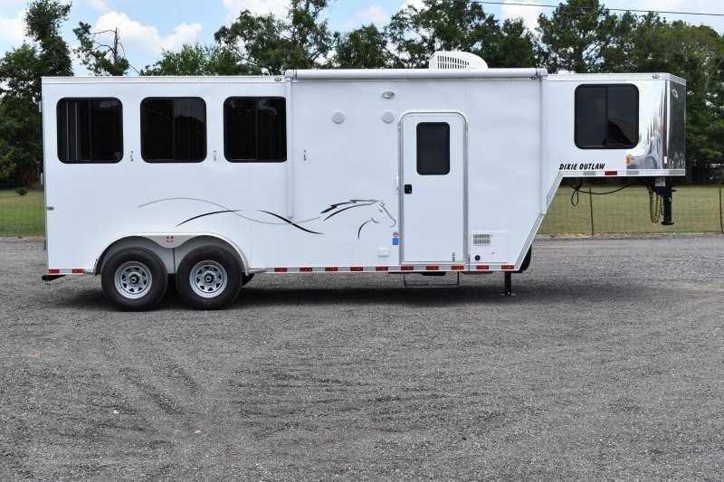 #00491 - New 2020 Harmar Dixie Outlaw 7304LQ 3 Horse Trailer  with 4' Short Wall