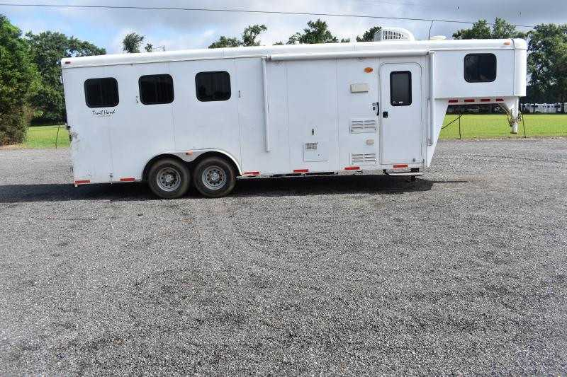 #03399 - Used 2014 Bison 7360LQ 3 Horse Trailer  with 7' Short Wall
