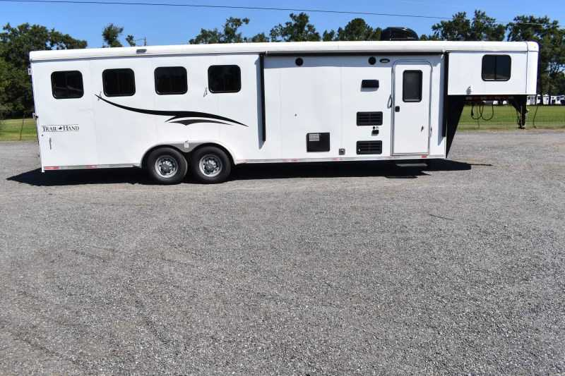 #06766 - Used 2017 Bison 7409LQ 4 Horse Trailer  with 9' Short Wall