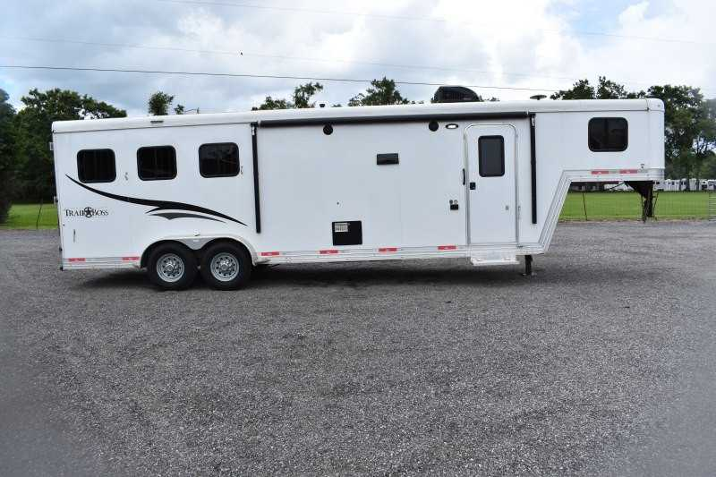 #06524 - Used 2016 Bison 7310LQ 3 Horse Trailer  with 11' Short Wall