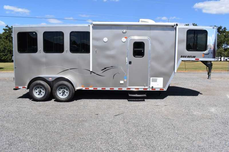 #00508 - New 2020 Harmar Dixie Outlaw 7304LQ 3 Horse Trailer  with 4' Short Wall