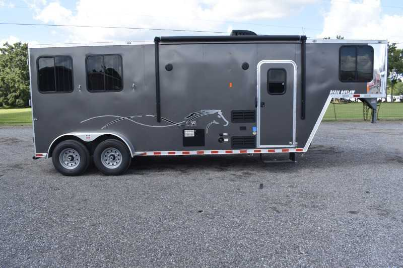 #00511 - New 2020 Harmar Dixie Star Outlaw 7208LQ 2 Horse Trailer  with 8' Short Wall
