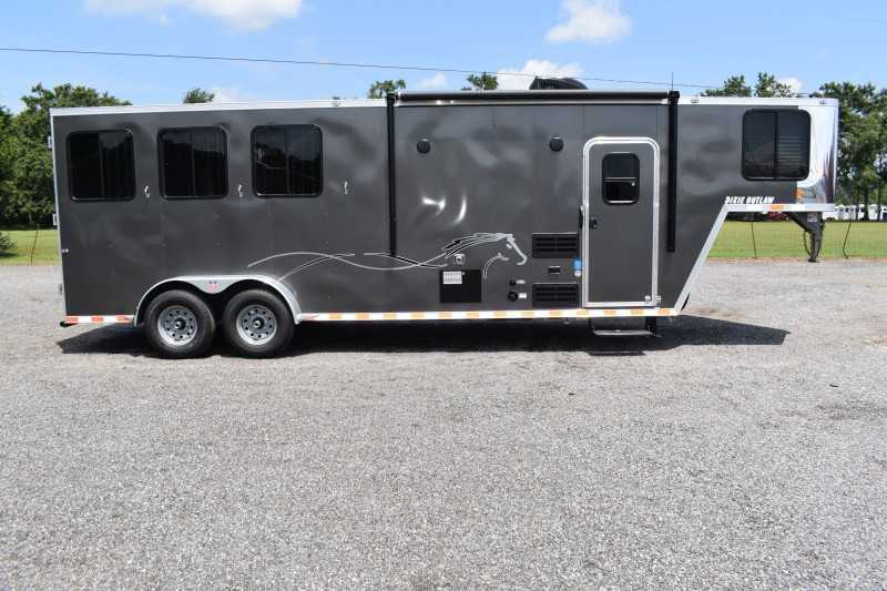 #00507 - New 2020 Harmar Dixie Star Outlaw 7308LQ 3 Horse Trailer  with 8' Short Wall