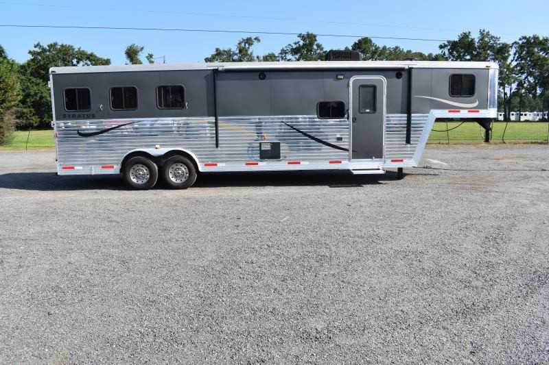 #03656 - Used 2014 Bison Stratus Express 8310GLQ 3 Horse Trailer  with 10' Short Wall