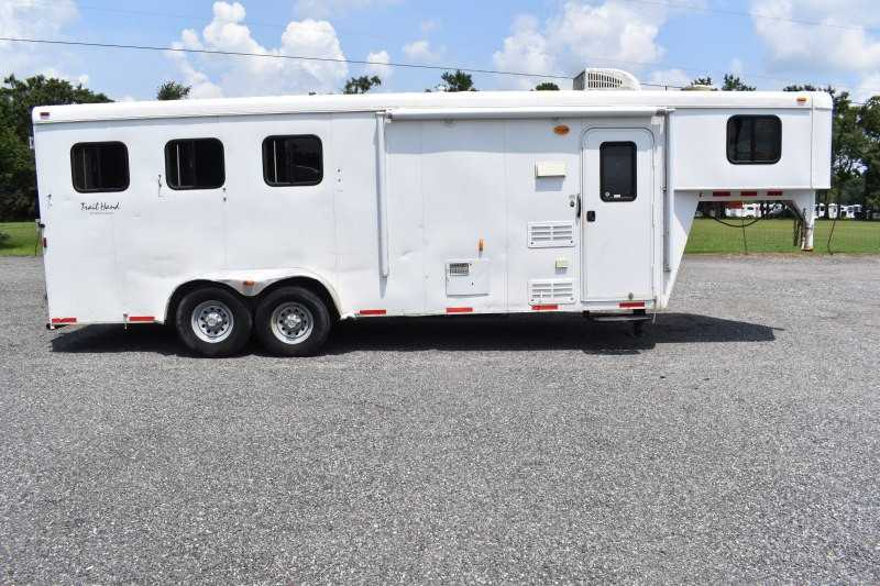 #03611 - Used 2014 Bison Trail Hand 7306S 3 Horse Trailer  with 6' Short Wall