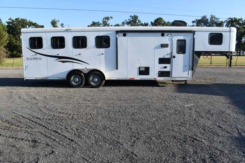 #05714 - Used 2016 Bison 7407LQ 4 Horse Trailer  with 7' Short Wall