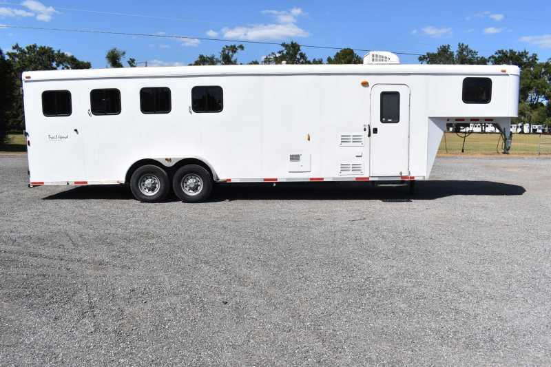 #04360 - Used 2014 Bison 7480LQ 4 Horse Trailer  with 8' Short Wall
