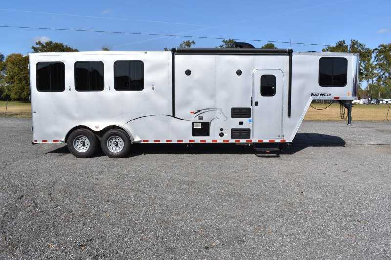 #00532 - New 2020 Harmar Dixie Star Outlaw 7308GLQ 3 Horse Trailer  with 8' Short Wall