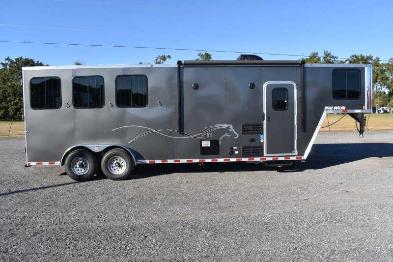 #00536 - New 2020 Harmar Dixie Star Outlaw 7308LQ 3 Horse Trailer  with 8' Short Wall