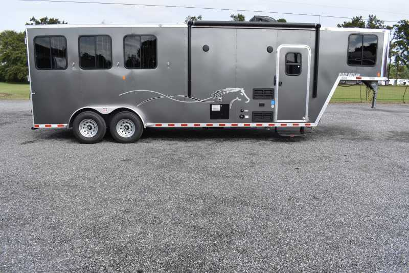 #00537 - New 2020 Harmar Dixie Star Outlaw 7308GLQ 3 Horse Trailer  with 8' Short Wall