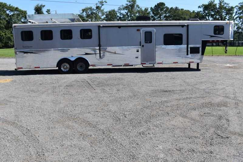 #03386 - Used 2014 Bison 8414LQ 4 Horse Trailer  with 14' Short Wall