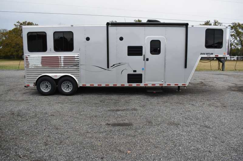 #00541 - New 2020 Harmar Dixie Outlaw 8210LQ 2 Horse Trailer  with 10' Short Wall