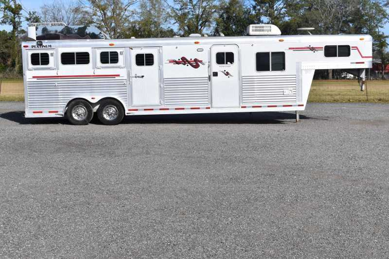 #00049 - Used 2001 Platinum 8412LQ 4 Horse Trailer  with 12' Short Wall