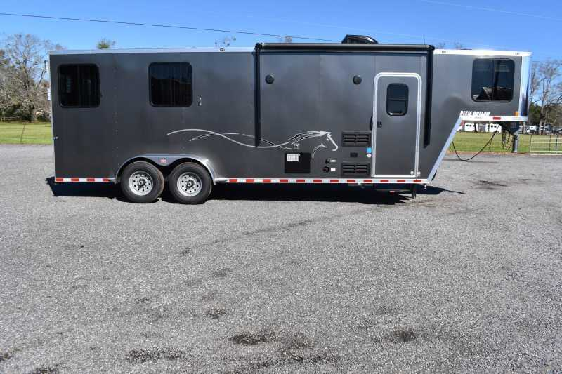 #00549 - New 2020 Harmar Dixie Outlaw 7208LQSS 2 Horse Trailer  with 8' Short Wall