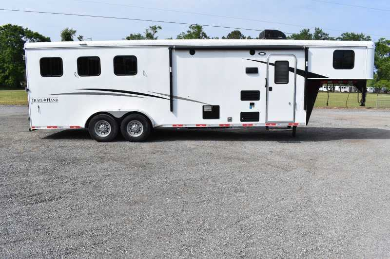 #08083 - Used 2018 Bison 7309LQ 3 Horse Trailer  with 9' Short Wall