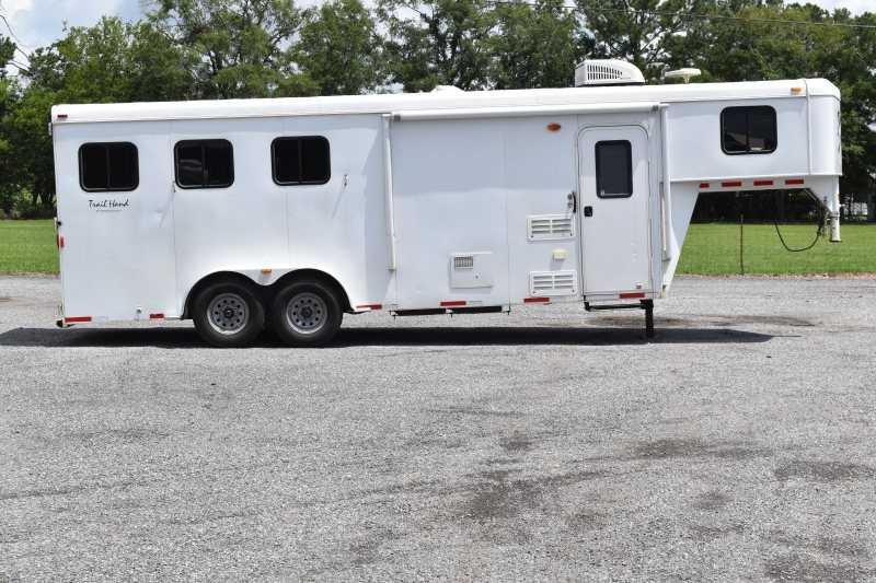 #01984 - Used 2012 Bison 7306S 3 Horse Trailer  with 6' Short Wall