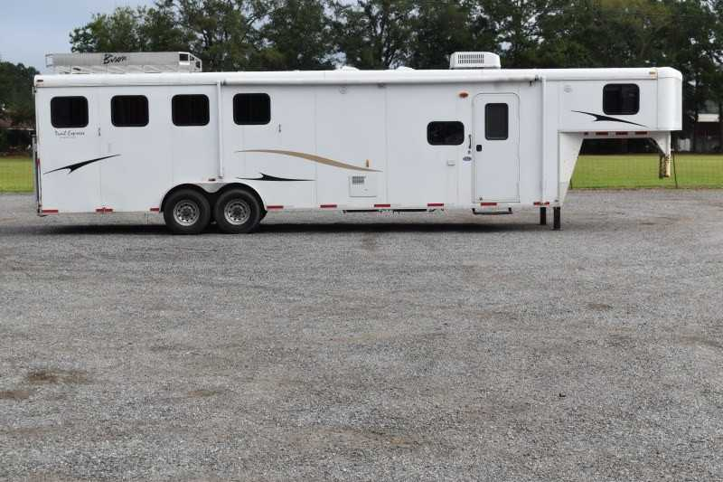 #00890 - Used 2011 Bison 8412LQ 4 Horse Trailer  with 12' Short Wall