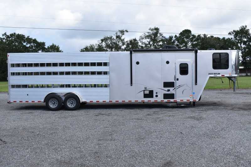#00577 - New 2021 Harmar Dixie Outlaw 7816STKLQ Stock Trailer  with 8' Short Wall