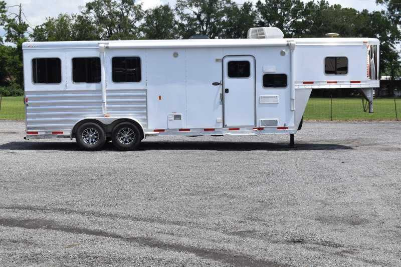 #66499 - Used 2016 Exiss 7308LQ 3 Horse Trailer  with 8' Short Wall