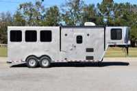 New 2021 Harmar Dixie Outlaw 7306LQ 3 Horse Trailer  with 6' Short Wall