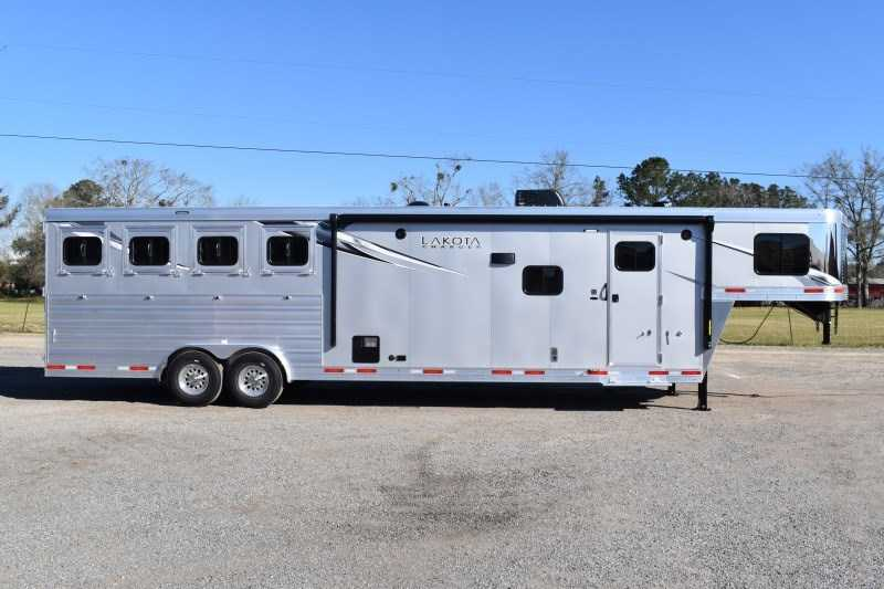 New 2021 Lakota 8413RKBGLQ Charger 4 Horse Trailer with 13' Short Wall