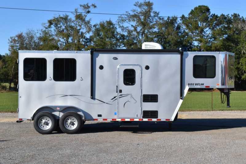 #00618 - New 2021 Harmar Dixie Outlaw 7206LQ 2 Horse Trailer  with 6' Short Wall