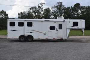 Used 2008 Bison 7308LQ 3 Horse Trailer  with 8' Short Wall