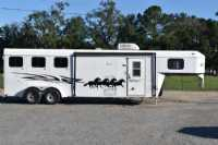 Used 2003 Kiefer Built 7308 3 Horse Trailer  with 8' Short Wall