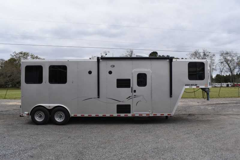 New 2021 Harmar Dixie Outlaw 8210LQ 2 Horse Trailer with 10' Short Wall