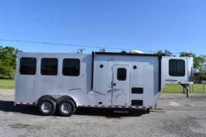 New 2022 Harmar Dixie Outlaw 7306LQ 3 Horse Trailer  with 6' Short Wall