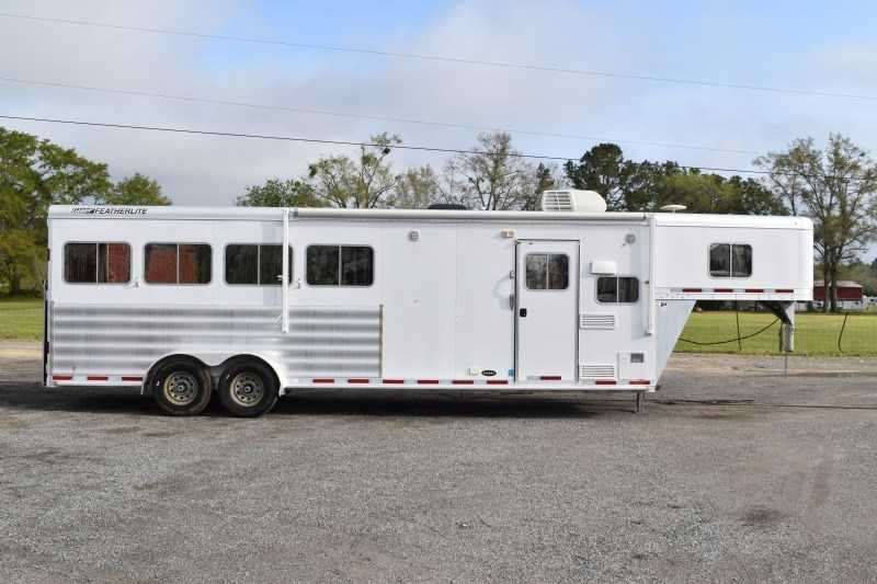 Used 2013 Featherlite 7408LQ 4 Horse Trailer with 8' Short Wall