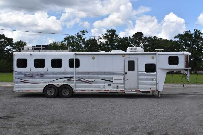 Used 2007 American Spirit 8410GLQ 4 Horse Trailer with 10' Short Wall