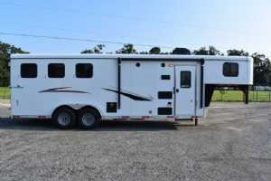 New 2022 Bison QUICK DRAW 7308 3 Horse Trailer  with 8' Short Wall