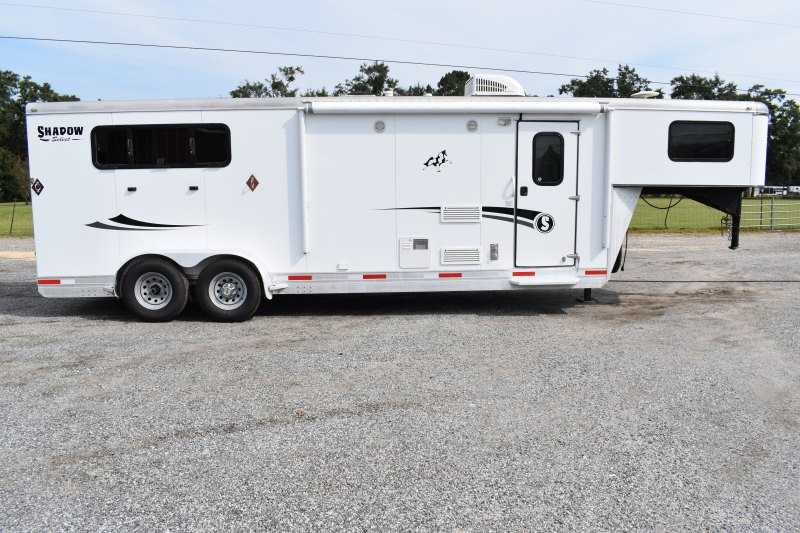 Used 2015 Shadow 7308LQ 3 Horse Trailer with 8' Short Wall