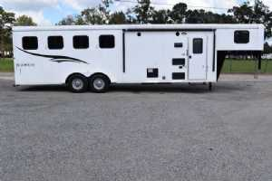 Used 2017 Bison 7408LQ 4 Horse Trailer  with 8' Short Wall