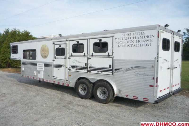 #A3718 - Used 2003 Sundowner 8310LQ 3 Horse Trailer  with 11' Short Wall