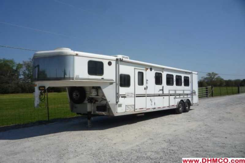 #05245 - Used 2003 Bison 8410LQ 4 Horse Trailer with 10' Short Wall