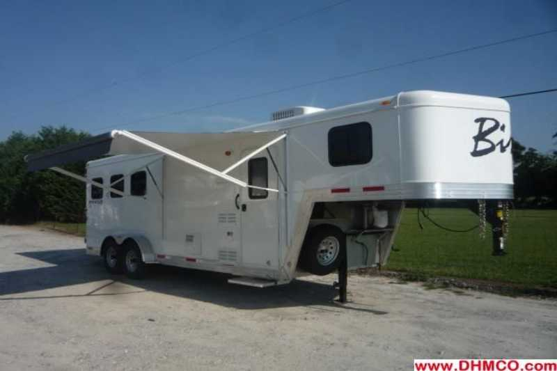 #02254 - New 2012 Bison Stratus LT 7360LQ 3 Horse Trailer  with 6' Short Wall